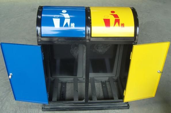 钢制分类垃圾桶采用喷塑型钢板制作而成